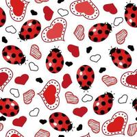 Seamless pattern with ladybugs and hearts. vector