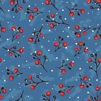 Seamless christmas pattern with branch of rowan and pine vector