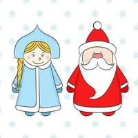 Russian Santa Claus and Snow Maiden on a white background with snowflakes. Funny New Year characters. vector