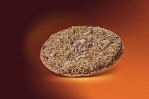 Pizza with mozzarella, beef stroganoff and potato sticks