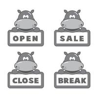 Open and closed board signs, hippo. Vector icons illustration.