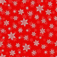 Vector Christmas and New Year seamless pattern with snowflakes. Red seamless pattern.