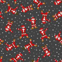 Doodle Christmas and New Year seamless pattern with dancing Santa Claus. Vector illustration for cover, card, textile and interior design for New Year.