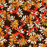 Seamless rowan branch with leaf and berries. Rowanberry autumn design. vector