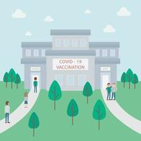 A queue of people waiting COVID 19 vaccination in the hospital. Concept vector illustration.
