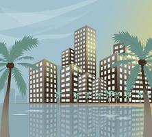 Summer beach concept downtown city with skyscrapers and palm trees. Vector illustration.