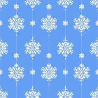 Seamless winter pattern with white snowflakes on blue. vector