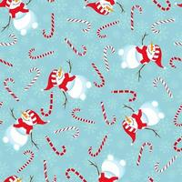 Seamless winter pattern. Print with funny snowman, candy and snowflakes. vector