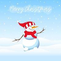 Christmas card with snowman. vector