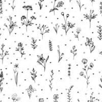 Black silhouettes of flowers and herb with hearts. Seamless provance pattern. vector