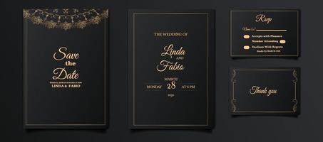 luxury wedding invitation card set vector