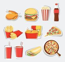 Conjunto de comida rápida, iconos de comida rápida de vector aislado