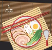 fideos ramen, sopa de fideos asiática tradicional, vector de ilustración.