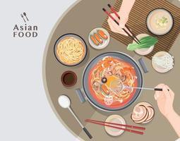 Hot pot at restaurant,  Hand holding chopsticks eating Shabu  shabu vector