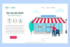 We are open. Reopening after pandemic. Vector illustration template for landing page, web banner.
