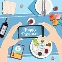 Passover dinner table with Traditional plate, matzo, wine. Hebrew text. vector