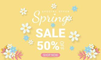 Spring sale background with beautiful colorful flowers template vector