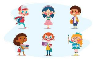 Cute School Kids Boy and Girl Characters Concept