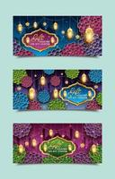 Eid Mubarak Colorful Gift Voucher Templates vector