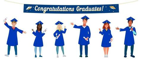Group of happy multicultural graduate students wearing academic dress, gown or robe, holding diploma. Boys and girls celebrating university graduation, keeping distance. Class 2021 vector illustration.