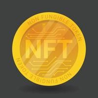gold coin NFT non fungible token isolated on black background. vector