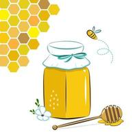 Honey jar, honeycomb and bee. Honey in glass jar with honey dipper and flower.. vector