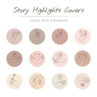 Social media highlight covers set. Stories pastel modern backgrounds with hands in different gestures and minimal variables linear Icons. vector
