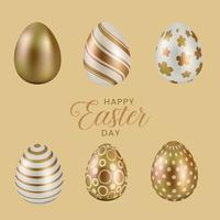 Happy easter day six different gold and white eggs vector
