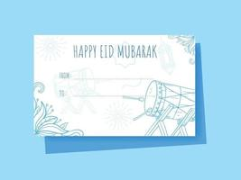 Hand drawn Eid Mubarak gift tag vector