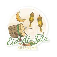 hand drawn eid al fitr mubarak sticker style vector
