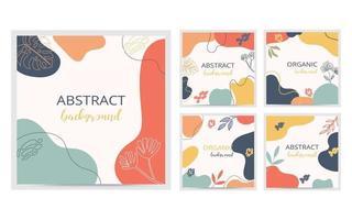 colección de formas orgánicas. cubierta y fondo mínimos. publicación de redes sociales y plantilla con forma orgánica. diseño abstracto. dibujado a mano. ilustración vectorial. vector