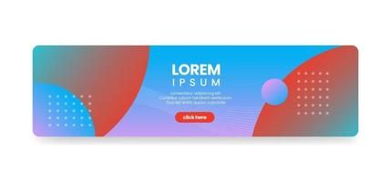 Horizontal web banner with push button, abstract gradient background, rounded corner banner, vector illustration