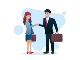 Hombre y mujer con maletín se dan la mano, trato comercial o concepto de inversor, ilustración vectorial vector