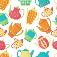 Vector seamless pattern with a variety of teapots on a white background. Kitchen utensils. Bright colors. Flat Style