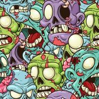 patrón de dibujos animados zombie vector