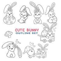 Lindo sello digital primavera contorno de dibujos animados de conejito de Pascua, página para colorear o pincel digital vector