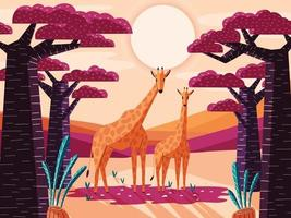 Beautiful natural savannah landscape with giraffes and baobab trees. Panoramic colorful illustration with wild animals. Exotic scenery of African nature. vector