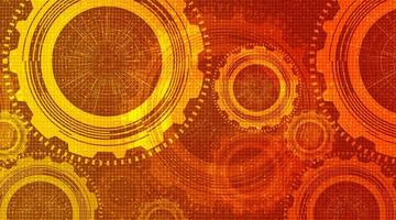 Modern Orange Digital Technology Gears wheel and Cock with Circuit Line Background. vector