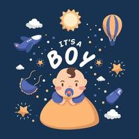 Baby Boy Born Day Illustration vector