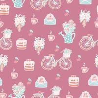 Seamless cute pattern for lovers or wedding, girl's pink pattern with elements in the style of doodle, hearts, love letter, roses, bouquet, lock with key, bicycle with flowers, hand draw. vector