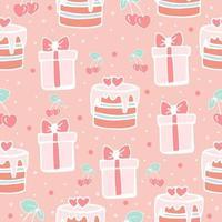 patrón sin costuras con pasteles y cajas de regalo, patrón de niña linda en rosa, pasteles y regalos, estilo de doodle de impresión vectorial. vector