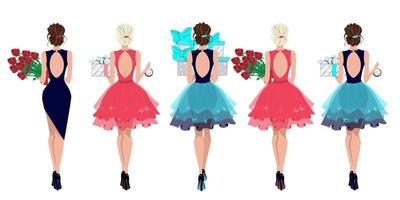 Set of fashionable girls with gifts and flowers in their hands, ladies in evening dresses, beautiful festively dressed girls, vector illustration in flat style.