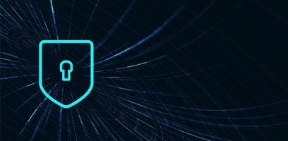 Diseño de fondo de concepto de seguridad, protección y conexión de escudo de tecnología digital azul vector