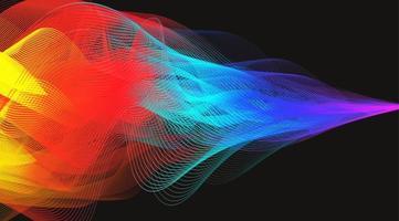 humo colorido onda de sonido digital en vector de fondo negro.
