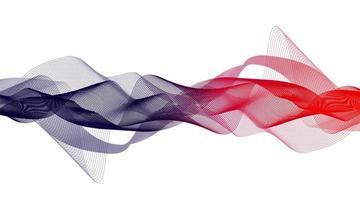 Onda de sonido digital que agita roja y azul en vector de fondo blanco.