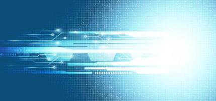 Luz de velocidad futura ligera sobre fondo de tecnología de microchip de circuito, diseño de concepto digital e internet de alta tecnología vector