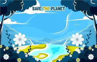 Earth Day Background with Beautiful Landscape vector