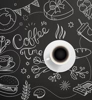 Coffee cup with doodling elements. Cafe menu design vector template