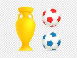 Golden cup and soccer balls web emoticons isolated vector