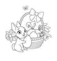 lindo conejito y pollito con canasta llena de huevos y flores. Ilustración de vector blanco y negro de dibujos animados de saludo de Pascua para colorear página de libro.